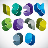 3d futuristic numbers set in blue and green colors. Royalty Free Stock Image