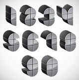 3d futuristic numbers set. Royalty Free Stock Photography