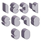 3d futuristic numbers set. Royalty Free Stock Photo
