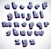 3d futuristic round font made with blocks, monochrome dimensiona Stock Photography