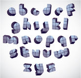 3d futuristic round font made with blocks. Royalty Free Stock Images