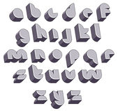 3d futuristic round font, monochrome dimensional alphabet. Stock Image