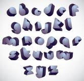 3d futuristic round font, monochrome dimensional alphabet. Royalty Free Stock Images