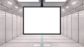 3d Futuristic screen. 3d design of Spaceship interior, center view with floor Royalty Free Stock Images