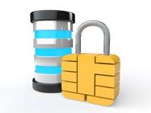3d futuristic server and lock Stock Photo