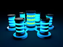 3d futuristic servers glowing light Royalty Free Stock Photo