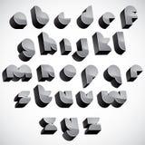 3d futuristische doopvont, geometrische dimensionale geplaatste brieven Royalty-vrije Stock Afbeeldingen