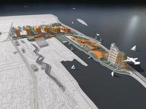 3D futuristische kusttoevlucht Stock Foto's