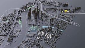 3D futuristische stadsarchitectuur stock videobeelden