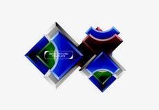 3d futuristische vormen vector abstracte achtergrond die van glanzende stukken met lichteffecten wordt gemaakt stock foto