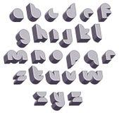 3d futuristisk rund stilsort, monokromt dimensionellt alfabet stock illustrationer