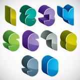 3d futurystyczne liczby ustawiają w błękitnych i zielonych kolorach ilustracja wektor