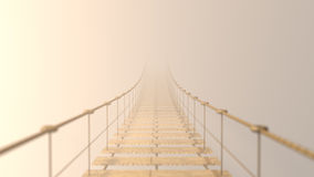 3D Fuzzy on hanging bridge vanishing in fog. Stock Photos