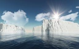 3D góry lodowe przeciw niebieskiemu niebu z puszystymi białymi chmurami royalty ilustracja