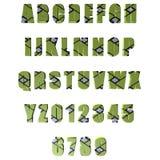 3D gör grön mönstrade bokstäver/alfabet/nummer Fotografering för Bildbyråer