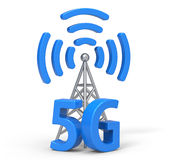 3d 5G with antenna, wireless communication technology. 5G and antenna are modelled and rendered royalty free illustration