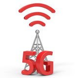 3d 5G with antenna, wireless communication technology. 5G and antenna are modelled and rendered stock illustration