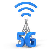 3d 5G with antenna. '5G and antenna' are modelled and rendered Stock Images