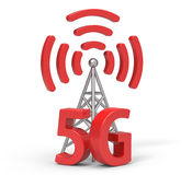 3d 5G with antenna. '5G and antenna' are modelled and rendered Royalty Free Stock Photo