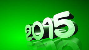 2015 in 3D on g backreen ground. Number 2015 in 3D on green background - New Year - Christmas Card Stock Images