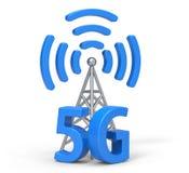 3d 5G con l'antenna, tecnologia della comunicazione senza fili Fotografia Stock Libera da Diritti