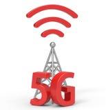 3d 5G con l'antenna, tecnologia della comunicazione senza fili Immagine Stock Libera da Diritti
