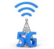 3d 5G con la antena Imagenes de archivo