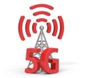 3d 5G con la antena Foto de archivo libre de regalías