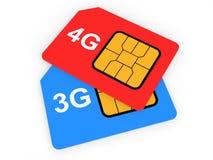 3d 3G en 4G SIM-kaarten Stock Foto's