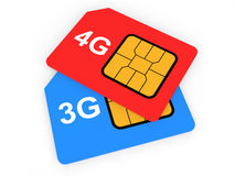 3d 3G and 4G SIM cards Stock Photos