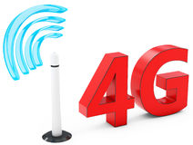 3d 4G mobile antenna, wireless technology. On white background Stock Photography