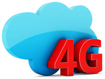3d 4G mobile cloud, wireless technology. On white background Stock Image