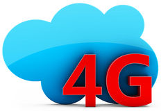 3d 4G mobile cloud, wireless technology. On white background Stock Images
