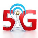 3d 5G network sign with antenna. On white background 3d illustration royalty free illustration