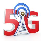3d 5G network sign with antenna. On white background 3d illustration vector illustration