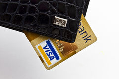 D&G wallet and visa credit card Stock Photography