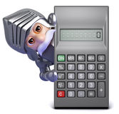 3d Gallant knight finds a calculator Stock Photos