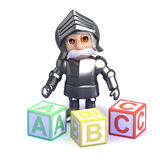 3d Gallant knight teaches the alphabet Stock Photos