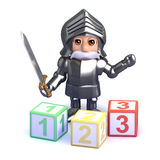3d Gallant knight teaches math Royalty Free Stock Photos