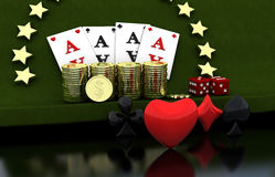 3d Gambling, four cards, coins, stars. Green background Stock Images