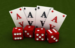 3D. Gambling, four cards and four cubes, green background Royalty Free Stock Images