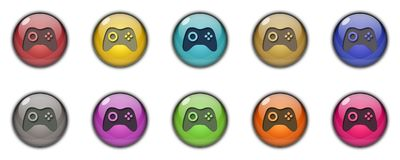 3D Gaming Button Icon Multicolor. 3D Gaming button icon sing simbol multicolor green, yellow, blue, golden, brown, silver, orange, red, purple, pink Royalty Free Stock Image