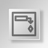 3D  Gantt Chart Button Icon Concept Stock Image
