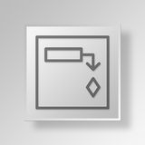3D  Gantt Chart Button Icon Concept Stock Photography