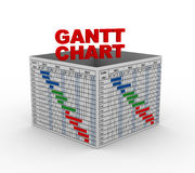 3d gantt progress chart box. 3d rendering of business gantt progress graph chart box Stock Photo