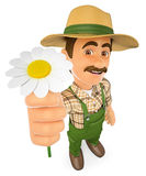 3D Gardener with a daisy. Spring Royalty Free Stock Photography