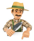 3D Gardener pointing down. Blank space Stock Photo