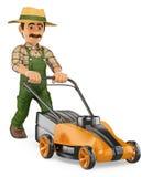 3D Gardener pushing a power mower Stock Image