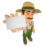 3D Gardener showing a blank card Royalty Free Stock Images