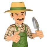 3D Gardener with a small spade Royalty Free Stock Photos